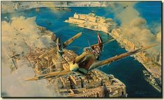 Roberts aerial masterpiece portrays John Bisley RAAF in his Spitfire of 126 Squadron in combat with the Luftwaffe during one of the intense air battles over Grand Harbour in April 1942.