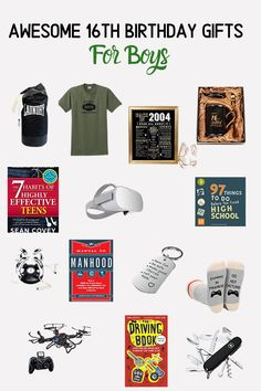 "55 16th Birthday Gift Ideas including ""Made in 2004"" t-shirt, VR headset, bluetooth beanie hat, lightening shock game, new driver gifts and lots more Gifts For Teen Boys, Gifts For Teens, Birthday Gifts For Boys, New Drivers, Beanie, Hat, Vr Headset, 16 Year Old, Old Boys"