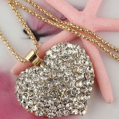 14k gold filled Necklace coming soon! * 14k Gold Filled Austrian Crystal * New Style Womens Sparkling Heart Pendant   * Swearer Chain Necklace 30inch Uber Chic Jewelry Necklaces