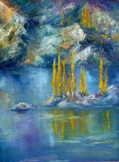 Título: Los Alamos del Lago - Oleo sobre madera (60x53cm) Espatula y pincel - San Luis, Argentina - Autora Alejandra Etcheverry