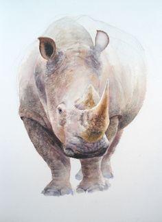 Rhino in #watercolour by Glynis Barnes Mellish coming soon to ArtTutor.com