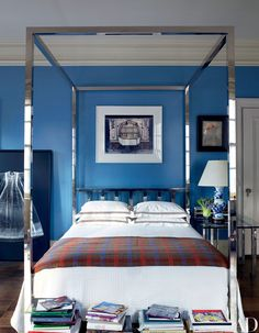 Caitlin And Emily Argue About Canopy Beds (And Discover The Secret To Making Them Work With Regular Height Ceilings) - Emily Henderson Blue Rooms, Blue Bedroom, Master Bedroom, Blue Walls, Modern Bedroom, Farmhouse Bedroom Furniture, Farmhouse Style Bedrooms, Cottage Bedrooms, Traditional Bedroom