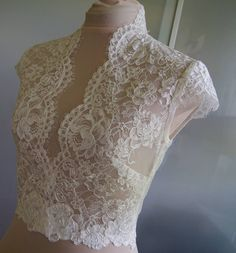 Wedding bolero-top-jacket with lace short sleeves by TIFFARY