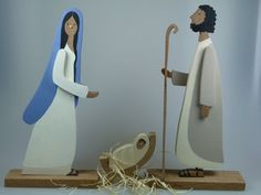 Krippen - Krippenfiguren aus Holz - Maria/Josef/Jesuskind - ein Designerstück von mw-holzkunst bei DaWanda