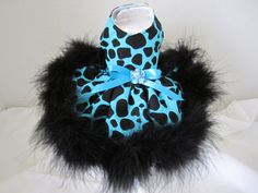 Dog Dress XXXS Teacup Teal With Black With  by NinasCoutureCloset, $37.00