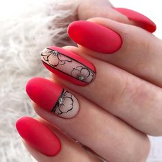 Unghie rosse art designs easy ideas Fantastic Red Nails Ideas For Stylish Ladies Fall Nail Art Designs, Halloween Nail Designs, Red Nail Designs, Colorful Nail Designs, Halloween Nails, Easy Halloween, Red Acrylic Nails, Red Nail Art, Floral Nail Art