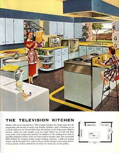 Early 1960s kitchen interior featuring a television on the counter