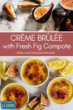 Have you been looking for an easy crème brûlée recipe to try at home? This is it! Rich, decadent, Lemon and White Chocolate Crème Brûlée sits atop a fresh fig compote that envokes childlike nostalgia with every spoon full. This dessert is reminiscent of the fruit-on-the-bottom yogurt cups you loved as a kid, but with a mature dessert spin for your sophisticated palate. #dessert #cremebrulee #cagrown @cafigs @realcalifmilk Fig Recipes, Vegetarian Recipes Easy, Clean Eating Recipes, Summer Recipes, Dessert Recipes, White Chocolate Creme Brulee, Best Gluten Free Desserts, Brulee Recipe, Desert Recipes