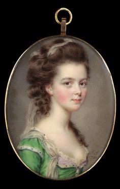 John Smart  (c. 1740 - 1811) - Portrait miniature of Mrs. Russell,  1781