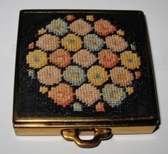 Vintage HAZEL BISHOP Square Compact with Needlepoint Case, Pat #1802798,USA