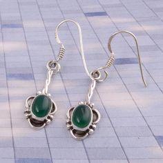 Green Onyx 925 SOLID STERLING SILVER FANCY EARRING 2.57g JEWELLERY DJER1804 #Handmade #Earring