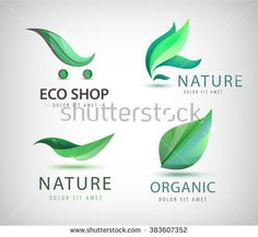 Find Vector Set Eco Logos Leaves Organic stock images in HD and millions of other royalty-free stock photos, illustrations and vectors in the Shutterstock collection. Logo Inspiration, Organic Logo, Tree Logos, Leaf Logo, Shop Logo, Custom Logos, Vector Art, Nature Logos, Clip Art