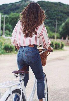 stripe blouse + denim
