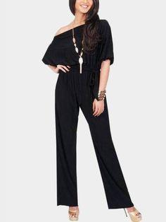 Black One Shoulder Self-tied Maxi Jumpsuits