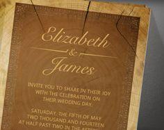 Western Tree Ring Wedding Invitation