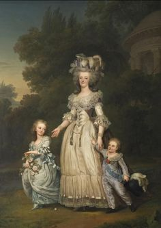 Marie Antoinette with her two eldest children, Marie-Thérèse Charlotte and the Dauphin Louis Joseph, in the Petit Trianon's gardens (by Adolf Ulrik Wertmüller, 1785).