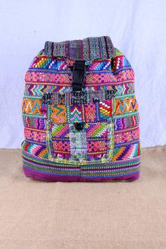 Guatemalan Backpack with Embroidered Vibrant Color by mezoCULTURE