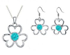 Rhodium Plated Aquamarine Color Flower Pendant Necklaces & Earrings Fashion Jewellery Set for Women made with Swarovski Crystals. #Glimmering #RhodiumPlatedPendant #RhodiumPlatedNecklaces #SwarovskiPendant #SwarovskiNecklaces #FashionNecklaces #FreeShipping #CheapFashionNecklaces #FashionPendant #NecklacesforWomen