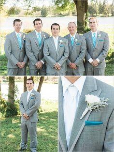 Groomsman idea: teal and blue groomsman suits @weddingchicks