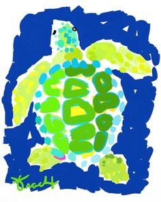 Navy Lime Loggerhead Sea Turtle 8.5x11 Paper Print by by trachtart