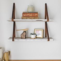 Real Reclaimed Wood and Authentic Leather Hanging Lake Shelves Diy Hanging Shelves, Display Shelves, Wall Shelves, Floating Shelves, Kitchen Shelves, Reclaimed Wood Shelves, Solid Wood Shelves, Decorative Objects, Decorative Pillows