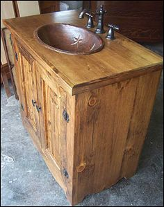 southwestern bathroom | ... photo of side view country bathroom vanity stained pine with wallpaper