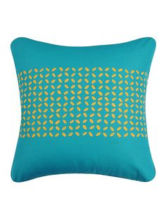 Turquoise-Yellow Applique Cotton Cushion Cover x Hand Embroidery, Embroidery Designs, Blouse Designs, Stitches, Applique, Floral Wreath, Cushions, Throw Pillows, Turquoise