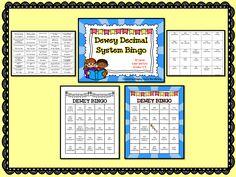Dewey Decimal System Bingo Card 32 cards (comes in color and b/w).