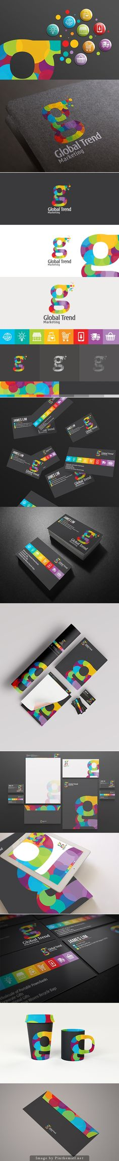 Global Trend identity packaging branding on Behance curated by Packaging Diva PD. Global Trend is an online technology shopping store that brings in the best and latest tech stuff in town. Corporate Design, Corporate Branding, Brand Identity Design, Graphic Design Branding, Stationery Design, Web Design, 2 Logo, Design Poster, Art Graphique