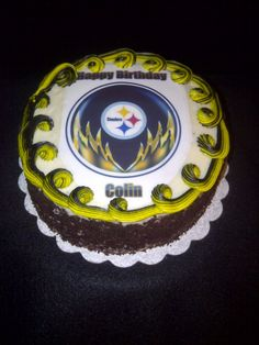Steelers theme cakes  | Black forest style Pittsburgh Steelers themed birthday cake.