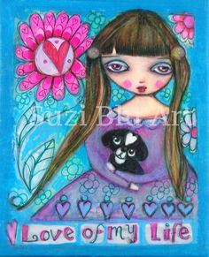 Suzi Blu Print of Finney - Love of My Life - Mixed Media Painting