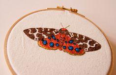 Garden Tiger Moth Arctia caja Hoop Embroidery Textile Art Entomology Insect Wildlife Woodland Nature Lover Home Decor Fiber Art by BlueTerracotta on Etsy