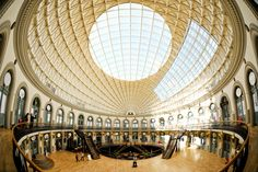 We love sharing our images of the fabulous Leeds Corn Exchange. The building is very deceiving as everyone thinks its round from the exterior but its infact oval. This image was taken with a fisheye lens. Leeds Corn Exchange, Fisheye Lens, West Yorkshire, Us Images, Louvre, Exterior, Building, Beautiful, Buildings
