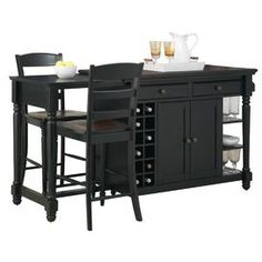 3-Piece Cohelo Kitchen Island & Barstool Set