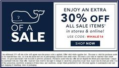 In-Store & Online: Enjoy an extra 30% #off all sale items.  Store : #VineyardVines Scope : Entire Store		 Ends On : For Limited Time  Get more deals : http://www.geoqpons.com/Vineyard-Vines-printable-coupons Get our Android mobile App: https://play.google.com/store/apps/details?id=com.mm.views Get our iOS mobile App: https://itunes.apple.com/us/app/geoqpons-local-coupons-discounts/id397729759?mt=8