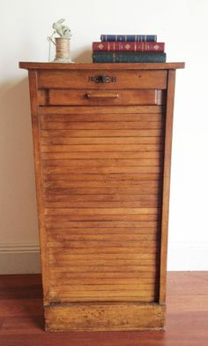 Stunning Tambour Door Antique Oak Office Storage Filing Cabinet ...