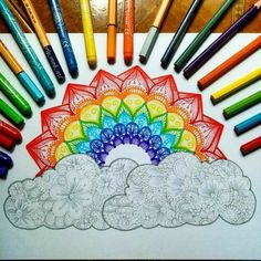 Fabulous Drawing On Creativity Ideas. Captivating Drawing On Creativity Ideas. Dibujos Zentangle Art, Zentangle Drawings, Mandala Drawing, Doodle Drawings, Cute Drawings, Doodle Art, Zentangles, Rainbow Drawing, Rainbow Art