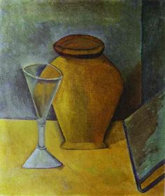 "Pablo Picasso - ""Pot, Wine-Glass and Book"", 1908"