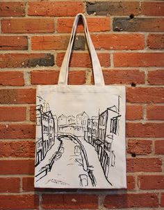 7148514d0231 Venice Art Canvas Tote Bag with Pocket