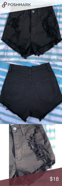 Black Denim Shorts - High Waisted Shorts Purchased from Fashion Nova Black Denim High Waist 4-Pocket Design Distressed Raw Edge Hem Made in USA  98% Cotton 2% Spandex  Size XS used only once - they are in great condition Fashion Nova Shorts