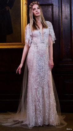 berta bridal fall 2016 flutter sleeves vneck trumpet beaded wedding dress (16 110) mv