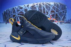 d77465fd7e Mens Nike LeBron Ambassador 11 LBJ Basketball Shoes Obsidian Gold NIKE -ND008872