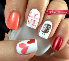 Valentine's Day Nail Art - Owl Love check out www.MyNailPolishObsession.com for more nail art ideas.