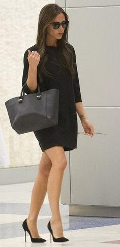 Victoria Beckham in Casadei 'Blade' heels and Victoria Beckham 'Liberty' bag at JFK.