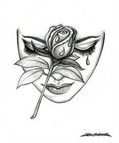 Rose Face by MuddyGreen on DeviantArt - Rose Face Pencil Drawing. *I looked at this picture where someone had photoshopped a rose on a woma - Face Pencil Drawing, Pencil Drawings Of Love, Female Face Drawing, Dark Art Drawings, Tattoo Design Drawings, Art Drawings Sketches, Cool Rose Drawings, Tattoo Sketches, Cool Drawings Tumblr