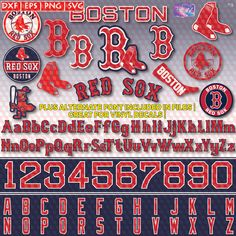 Boston Red Sox logos and fonts in EPS, DXF (Silhouette), PNG and SVG (Adobe Illustrator, Corel Draw Design Space & Inkscape).  I recommend DXF for Silhouette and SVG for Cricut.  Jersey #s and Letters were made to the exact format as the jerseys. These were made to look exactly like it, and NOT auto-traced from a similar font.  **ALTERNATE FONT INCLUDED IN FILES - GREAT FOR VINYL DECALS (Monograms)  This digital purchase contains: (3) EPS for ALL letters. Individual EPS for others. (1) EPS…