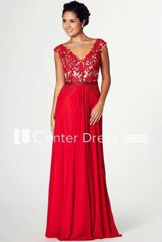 Appliqued V Neck Cap Sleeve Jersey Prom Dress