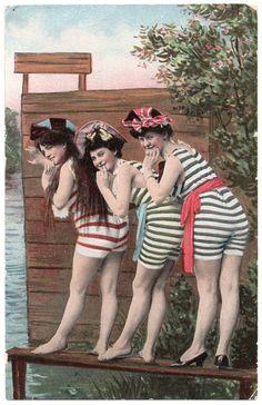 """Vintage """"Bathing Beauties"""" Postcard, Printed in Germany Vintage Bathing Suits, Vintage Swim, Mode Vintage, Vintage Girls, Vintage Bikini, Vintage Beach Photos, Vintage Pictures, Vintage Photographs, Vintage Images"""