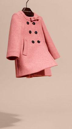 Cappotto in lana e cashmere con fiocco Rosa Peonia Mélange | Burberry