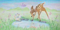 Schilderij Bambi met Stampertje, acryl op canvas 120x60. Kan ook als wandschildering. Gemaakt door BIM Muurschildering. Bambi painting